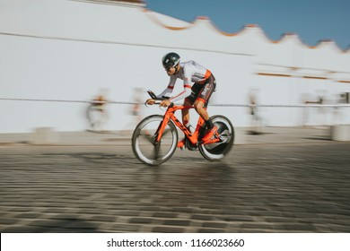 MALAGA, SPAIN - August 25th, 2018: Jordi Simon, from Burgos BH Cycling team, during first stage of La Vuelta 2018 in the city of Malaga, Spain.