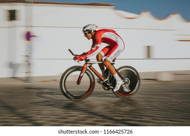 MALAGA, SPAIN - August 25th, 2018: Stephane Rossetto, from Cofidis Cycling Team,  during first stage of La Vuelta 2018 in the city of Malaga, Spain.