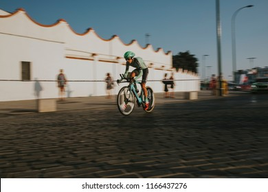 MALAGA, SPAIN - August 25th, 2018: Oscar Rodriguez Garaicoechea, from Euskadi Murias Cycling Team, during first stage of La Vuelta 2018 in the city of Malaga, Spain.