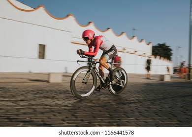 MALAGA, SPAIN - August 25th, 2018: Simon Clarke, from Education First Drapac Cycling team, during first stage of La Vuelta 2018 in the city of Malaga, Spain.