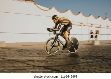 MALAGA, SPAIN - August 25th, 2018: Lars Boom, from Lotto Jumbo Cycling Team, during first stage of La Vuelta 2018 in the city of Malaga, Spain.