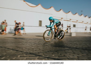 MALAGA, SPAIN - August 25th, 2018: Pello Bilbao, from Astana Cycling Team, during first stage of La Vuelta 2018 in the city of Malaga, Spain.