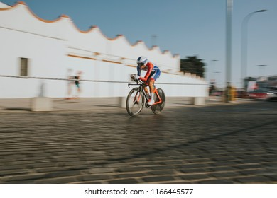 MALAGA, SPAIN - August 25th, 2018: Rudy Molard, from Groupama FDJ Cycling team, during first stage of La Vuelta 2018 in the city of Malaga, Spain.