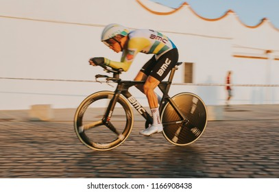 MALAGA, SPAIN - August 25th, 2018: Rohan Dennis, from BMC Racing Cyclint Team, during first stage of La Vuelta 2018 in the city of Malaga, Spain. He was the winner of the stage.