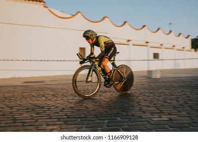 MALAGA, SPAIN - August 25th, 2018: Simon Yates, from Mitchelton Scott Cycling Team, during first stage of La Vuelta 2018 in the city of Malaga, Spain.