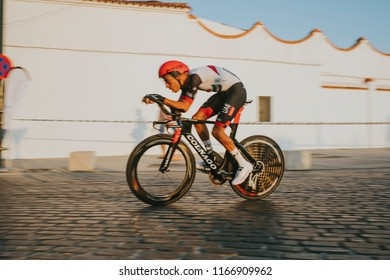 MALAGA, SPAIN - August 25th, 2018: Fabio Aru, from UAE Cycling Team, during first stage of La Vuelta 2018 in the city of Malaga, Spain.