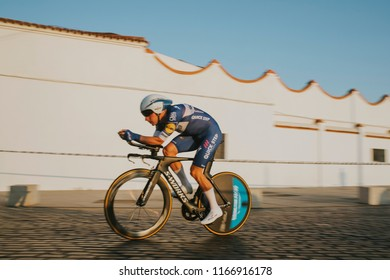 MALAGA, SPAIN - August 25th, 2018: Elia Viviani, from Quick-Step Floors Cycling Team, during first stage of La Vuelta 2018 in the city of Malaga, Spain.
