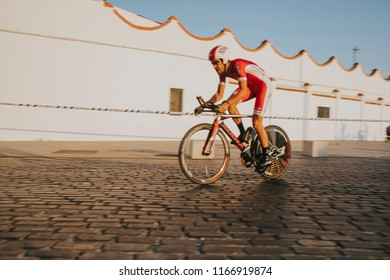 MALAGA, SPAIN - August 25th, 2018: Jesus Herrada, from Cofidis Cycling Team, during first stage of La Vuelta 2018 in the city of Malaga, Spain.