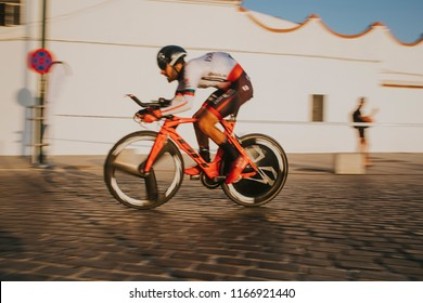 MALAGA, SPAIN - August 25th, 2018: Jose Mendes, from Burgos BH Cycling team, during first stage of La Vuelta 2018 in the city of Malaga, Spain.