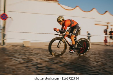 MALAGA, SPAIN - August 25th, 2018: Jon Izaguirre, from Bahrain Merida Cycling Team, during first stage of La Vuelta 2018 in the city of Malaga, Spain.