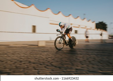 MALAGA, SPAIN - August 25th, 2018: Michael Kwiatkowski, from SKY Cycling Team, during first stage of La Vuelta 2018 in the city of Malaga, Spain.