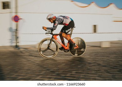 MALAGA, SPAIN - August 25th, 2018: Joseph Rosskopf, from BMC Racing Cycling Team, during first stage of La Vuelta 2018 in the city of Malaga, Spain.