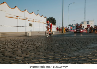 MALAGA, SPAIN - August 25th, 2018: Jose Goncalves, from Katusha Cycling Team, during first stage of La Vuelta 2018 in the city of Malaga, Spain.