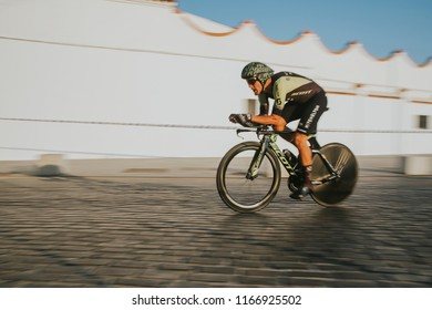 MALAGA, SPAIN - August 25th, 2018: Matteo Trentin, from Mitchelton Scott Cycling team, during first stage of La Vuelta 2018 in the city of Malaga, Spain.