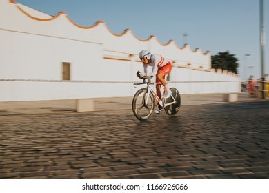 MALAGA, SPAIN - August 25th, 2018: Georg Preidler, from Groupama FDJ Cycling Team, during first stage of La Vuelta 2018 in the city of Malaga, Spain.