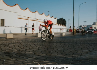 MALAGA, SPAIN - August 25th, 2018: Matthias Brandle, from Trek Segafredo Cycling Team, during first stage of La Vuelta 2018 in the city of Malaga, Spain.