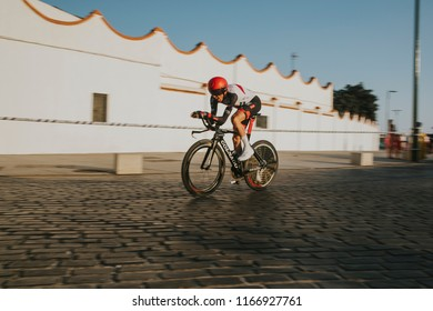 MALAGA, SPAIN - August 25th, 2018: Daniel Martin, from UAE Emirates Cycling team,  during first stage of La Vuelta 2018 in the city of Malaga, Spain.