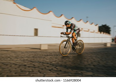 MALAGA, SPAIN - August 25th, 2018: Davide Formolo, from Bora Hansgrohe Cycling team, during first stage of La Vuelta 2018 in the city of Malaga, Spain.