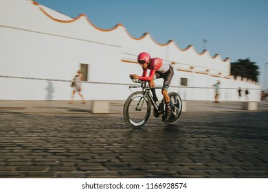 MALAGA, SPAIN - August 25th, 2018: Michael Woods, from Education First Drapac Cycling team, during first stage of La Vuelta 2018 in the city of Malaga, Spain.