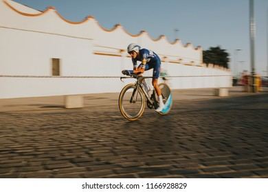 MALAGA, SPAIN - August 25th, 2018: Enric Mas Nicolau, from Quick-Step Floors Cycling Team, during first stage of La Vuelta 2018 in the city of Malaga, Spain.