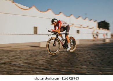 MALAGA, SPAIN - August 25th, 2018: Thomas De Gendt, from Lotto Soudal Cycling Team, during first stage of La Vuelta 2018 in the city of Malaga, Spain.
