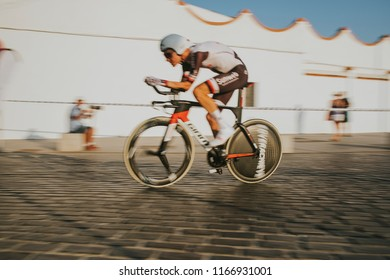 MALAGA, SPAIN - August 25th, 2018: Wilco Kelderman, from Sunweb Cycling Team, during first stage of La Vuelta 2018 in the city of Malaga, Spain.