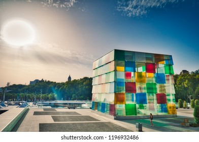 Malaga, Spain - August 27, 2016: View of the Center Pompidou of Malaga,  the famous Parisian art museum in an underground gallery with a glass cube on it.