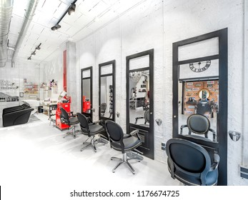 Malaga, Spain. Circa September 2018. Chairs in a Retro beauty salon. Hair salon and make up store, barber shop and manicure interior business