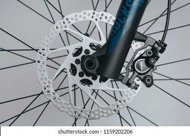 MALAGA, SPAIN - December 5, 2016: Detailed view of Shimano brake system and Rock Shox fork in a brand new mountain bike