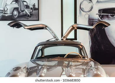 Malaga, Spain - December 7, 2016: Close up view of 1957 Mercedes-Benz 300SL Gullwing coupe Germany car displayed at Malaga Automobile and Fashion Museum in Spain.
