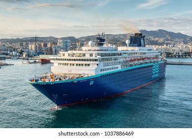 Malaga, Spain - December 7, 2016: The Pullmantur Zenith cruise ship leaves the port of Malaga, Andalusia, Spain.