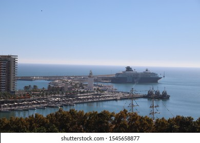 Malaga, Spain, Europe: November 2018 - The port area in Malaga city centre