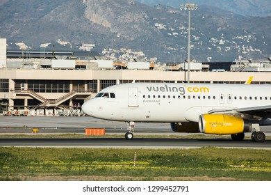 Malaga, Spain, Jan 24, 2019;  Plane of the company Vueling.com just landed at the airport of Malaga, Andalusia, Spain