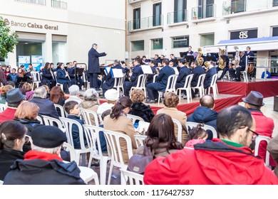 MALAGA, SPAIN - JAN 25, 2015: Concert of municipal music group (Banda Municipal de Musica) in spanish Malaga.