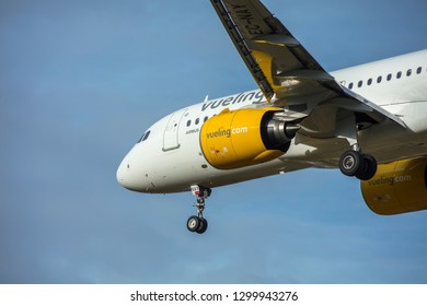 Malaga, Spain, Jan 30, 2019;  Plane of the company Vueling landing at the airport of Malaga, Andalusia, Spain