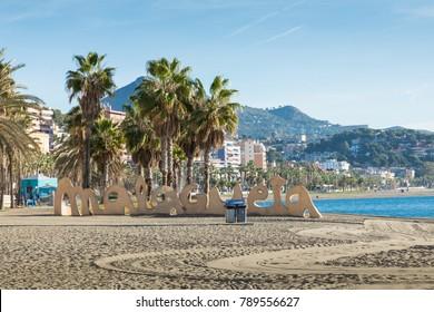 MALAGA, SPAIN - JANUARY 02, 2018: Malagueta beach in Malaga, Andalusia