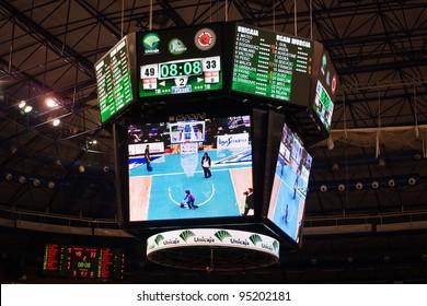 MALAGA, SPAIN - JANUARY 14: Unicaja Malaga against UCAM Murcia at Palacio de los Deportes on January 14, 2012 in Malaga, Spain. View of the scoreboard.