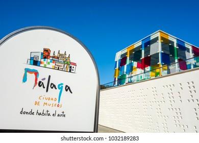 MALAGA, SPAIN- JANUARY 22,2018: Cultural center, Centre Pompidou,Malaga, Spain.