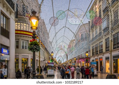 MALAGA, SPAIN- JANUARY 22,2018: Iconic street point city, commercial street, Marques de Larios, decorated lights.Malaga, Spain.