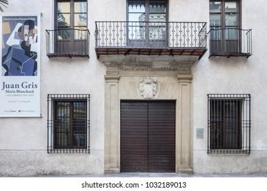 MALAGA, SPAIN- JANUARY 22,2018: Museum Carmen Thyssen, historic center of Malaga, Spain.