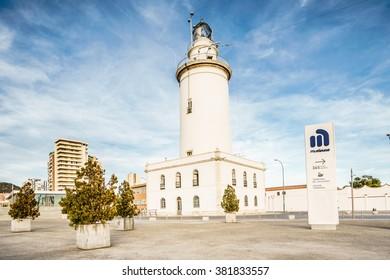 MALAGA, SPAIN - JANUARY 23: Lighthouse (Farola) in Malaga port in January 23, 2016 in Malaga, Andalusia, Spain