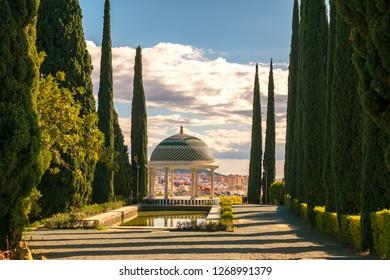 Malaga, Spain - January 27, 2018. Historical Gazebo, Conception garden, jardin la concepcion in Malaga, Spain