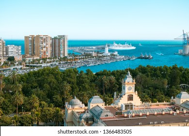 Malaga, Spain - July 01, 2018. Panoramic view of the Malaga city and harbor, Costa del Sol, Malaga Province, Andalucia, Spain, Western Europe