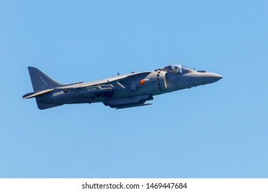Malaga, Spain - July 14th, 2019: AV-8B Harrier II Plus mid air belonging to the Spanish air force during Torre del Mar's Air Show