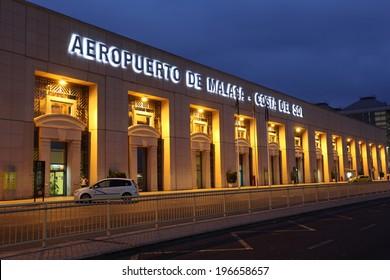 MALAGA, SPAIN - JULY 23: Costa del Sol airport illuminated at dusk. July 23rd 2012 in Malaga, Andalusia, Spain