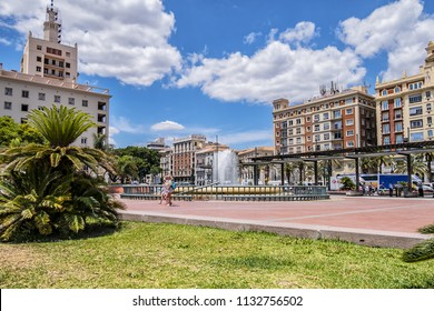 MALAGA, SPAIN - JUNE 2, 2018: Marina Square (Plaza de la Marina) - main square of Malaga, was designed in XIX century, located in front of main entrance of Port. Dancing fountain at Marina Square.