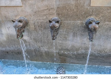 MALAGA, SPAIN - JUNE 2, 2018: The Bath of Diana. Bath of Diana is a sculpture and fountain made in bronze, located at the intersections of Granados and Beatas streets in the Historic Center of Malaga.