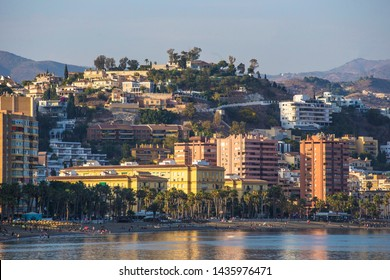 MALAGA, SPAIN - June 2019: Malaga skyline, Malaga Bay view from the water, Andalusia, Spain