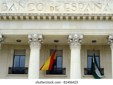 MALAGA, SPAIN - JUNE 25: the exterior of the Bank of Spain on June 25, 2011 in Malaga, Spain. The Bank of Spain estimates 15,152 million Euros are required to solve the country's debt crisis.