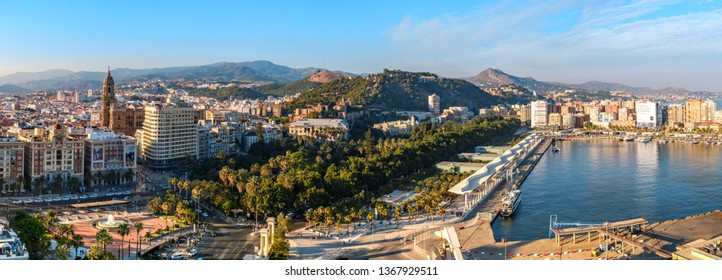 Malaga, Spain - June 29, 2018. Panoramic view of the Malaga city, Cathedral of the Incarnation, Marriott hotel, Waterfront promenade Muelle Uno and port, Costa del Sol, Malaga Province, Spain